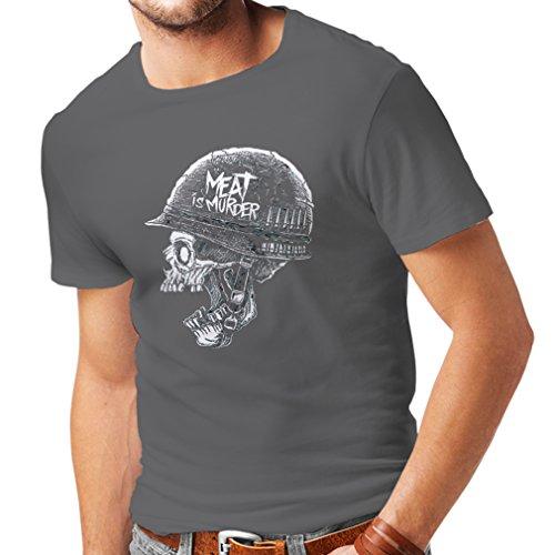 lepni.me Camisetas Hombre La Carne es un Asesinato - Cosecha 80s Vegetariana, diseño Vegano (X-Large Grafito Multicolor)