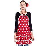 Delantal Sevillana Flamenca Lunares【Rojo Lunares Blancos】| Accesorio Feria Abril Delantal Cocina Mujer Original 1 Unidad