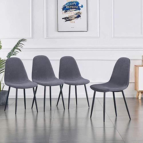 GOLDFAN 4er Set Esszimmerstuhl mit Metallbeine Moderner Küchenstuhl Polsterstuhl Wohnzimmerstuhl aus Stoff, Grau