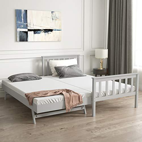 CDBAIRUN Tvillingsängram av massivt furu trä plattformssängar med utdragbar trundel, idealisk tvillingsängram för gäster sovrum med sliten yta utdragbar säng för barn, tonåringar och vuxna (grå)