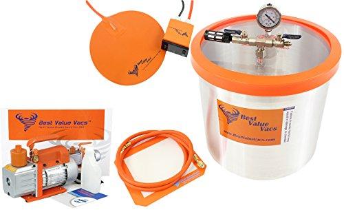 3 Gallon BVV Brand Vacuum Chamber with 3CFM Single Stage Vacuum Pump and 9' Digital Heat Pad