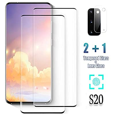 Galaxy S20 Screen Protector, (S20 5G) 2 Pack 9H Tempered Glass Ultrasonic Fingerprint Compatible, HD Clear, Bubble-Free, 3D Curved, Scratch-Resistant for Samsung S20 Glass Screen Protector