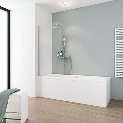 Schulte D1650 01 50 Duschwand Komfort, 80 x 140 cm, 5 mm Sicherheitsglas klar hell, alu natur, Duschabtrennung für Badewanne