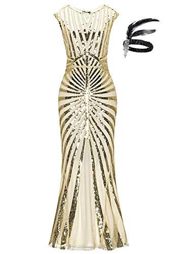 Generic 1920er Jahre Pailletten Meerjungfrau Formale Lange Flapper Kleid große Gatsby Party Abendkleid (S, Beige Gold)