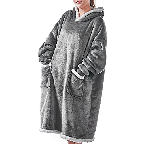UMIPUBO Mujer Manta de Sudadera con Capucha Sherpa de Gran Jerse De Televisión tamaño Caliente y Esponjoso para Otoño Invierno Talla Grande Hoodie De Manga Larga Moda Sudadera Tops (G, One Size)