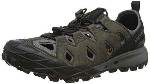 Merrell Choprock Leather Shandal, Zapatillas Impermeables para Hombre, Gris Grey, 43.5 EU