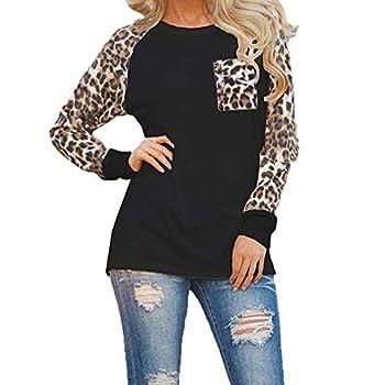 OMSJ Womens Casual Tops Long Sleeve Leopard Pocket Color Block Plus Size T-Shirtt  Black XXXXL