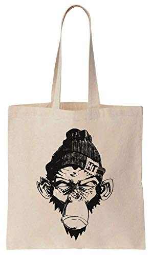 Angry Hooligan Monkey With A Beanie Cotton Canvas Tote Bag