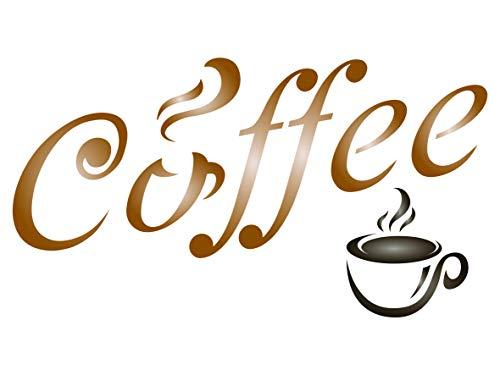 Kaffee-Schablone – Zitat Label Sign Word Wall Schablonen M