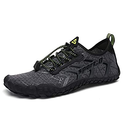 UBFEN Mens Womens Swimming Shoes Water Shoes Aqua Shoes Beach Sports Quick Dry Barefoot for Boating Fishing Diving Surfing with Drainage Driving Yoga Size 11 Women / 9.5 Men A Grey