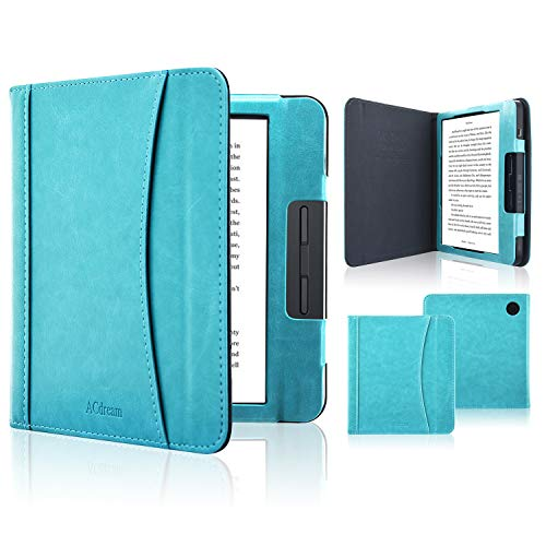 ACdream Kobo Libra H2O Case, Folio Business Pocket Smart Cover Leather Case with Auto Wake Sleep Feature for Kobo Libra H2O 2019 Release, Sky Blue