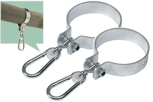 Loggyland 2er-Set Schaukelschelle rund 12cm Schaukelhaken mit Karabinerhaken, Schaukelschelle rund 120 mm, Manschettenhaken für Kinderschaukel
