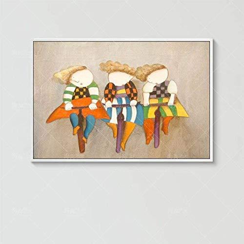 Handbeschilderde olieverfschilderij op doek, abstracte kunst, karikatuur, fiets, grote afmetingen van de kunstwerken voor het moderne huis, woonkamer, hal, slaapkamer. 110 x 165 cm