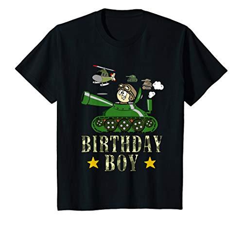 Kids Happy Birthday Army Tank Boy History Camouflage T Shirt Gift