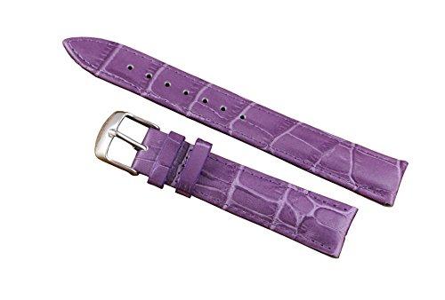 Bracelet en Cuir en Dentelle Exotique Pourpre 16mm Premium en Cuir véritable en croûte de Vachette en Relief