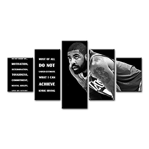YGYT 5 Panels Canvas Wall Art for Kyrie Irving Quote Painting Creative Modular Pictures Posters on Canvas for Home Living Room Unframed