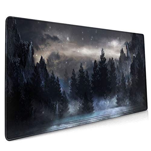 Forest Extra Large Black Gaming Mouse Pad Non-Slip Rubber Base Giant Mountain Mousepad 31.5x11.8in with Stitched Edge Waterproof Keyboard Pads Computer Desk Laptop Mat for Work & Game & Office & Home