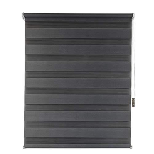 Suntesso Doppelrollo für Fenster und Türen anthrazit 70x160 ohne Bohren Rollo Klemmfix