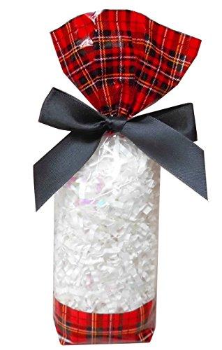 Pak van 50 doorzichtige cellofaan snoepzakjes met tartan en zilveren twist-banden - Snoepjes, snoepjes, snoepverpakkingen, kerstcadeautasjes - (56x37x220mm)