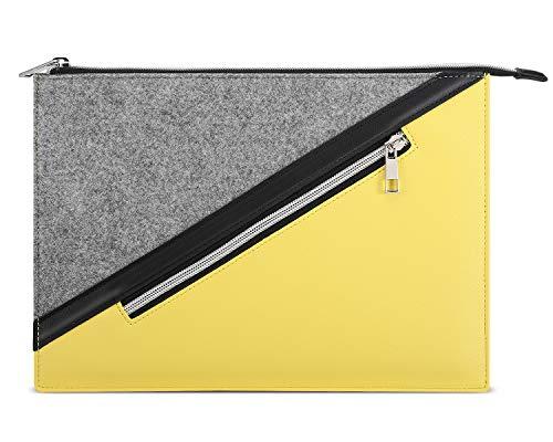 Dadanism 9-11 Zoll Tablet Hülle Sleeve für New iPad 10.2 2020/2019, iPad Air 4 10.9 2020, iPad Pro 11 2020, iPad 9.7/Air 10.5, Weich Robust Filz + PU Leder, mit Außen Reißverschlussfach - Grau und Gelb