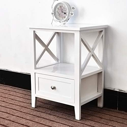 EXQUI Mesita de noche con estante y cajn, mesita de noche blanca para recmara, armario de madera,...