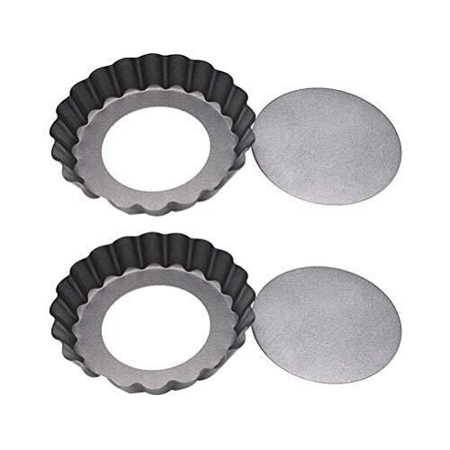 HEMOTON 2 Stück 4 runde Backform Antihaft-tragbare Mini-Tortenpfanne Herstellung Miniaturform Backmatte (12x2cm)