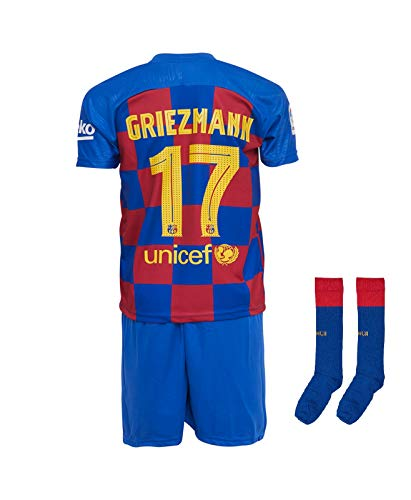 Barcelona #7 Griezmann 2019-2020 Heim Kinder Fußball Trikot Hose und Socken Kindergrößen (176-13/14 Jahre)