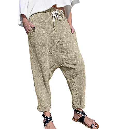 Lazzboy Frauen Plus Größen-Reine Farben-Taschen-breite Bein-Hosen-baumwollleinenhose Damen Kurze Hose Mit Knopfleiste | Baggy Zum Tanzen Sweatpants Trainingshose(Khaki,4XL)