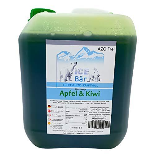 ICE BÄR Slush Sirup 12 fruchtige Sorten 5 Liter Konzentrat | Geschmack Apfel Kiwi | Slushy Maker Ice für Eis Maschine zum Selbermachen Getränkesirup