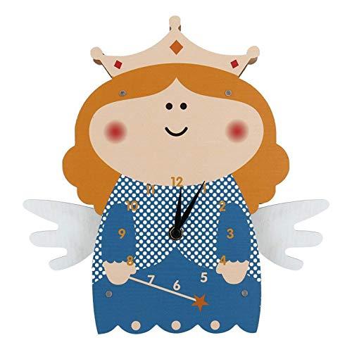Belleashy - Reloj de pared para niños, diseño de ángel giratorio, de madera, para el salón de la habitación de los niños, decoración en casa, reloj del profesor Easy Learn Time