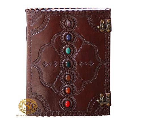 Seven Chakra Medieval Stone Embossed Handmade Leather Journal Book of Shadows Notebook Office Diary College Book Poetry Book Sketch Book 10 x 13 Inches