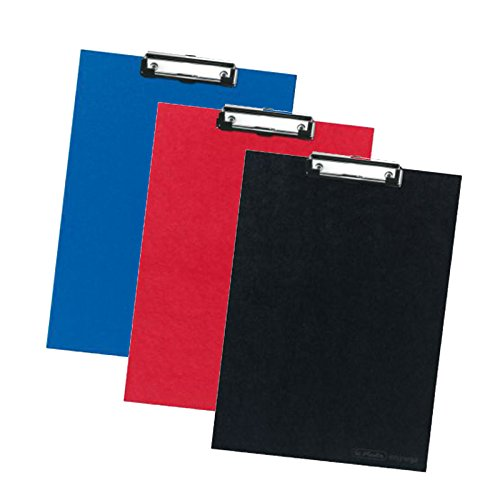 Klemmbrett 10842417 A4 Kraftpapierbezug Klemm-Mechanik mit Aufhaengeoese (3er Set, Sortiert, schwarz, rot & blau je 1x)