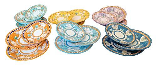 Piatti Vietri Ceramica vietrese Linea Animaletti 6 Piatti Fondi, 6 Piatti Piani, 6 Piatti Frutta 2 Variante