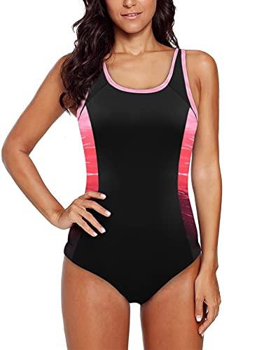 HAPPY SAILED Damen Badeanzug Rot Farbverlauf Kreuz Rückseite Einteiler Swimsuit XXL
