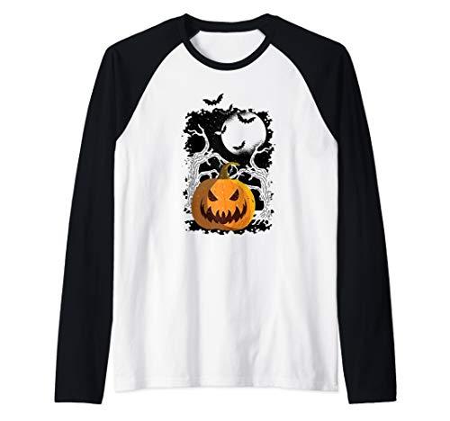 Cooles Vintage Kürbis und Fledermaus Halloween Party Raglan