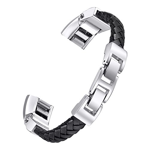 bayite Leather Bands Compatible with Fitbit Alta and Alta HR, Adjustable Metal Buckle Leather Wristband