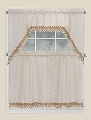 Fancy Collection 3pc Beige/Gold Embroidery Modern Kitchen/Cafe Curtain Tier and Valance Set