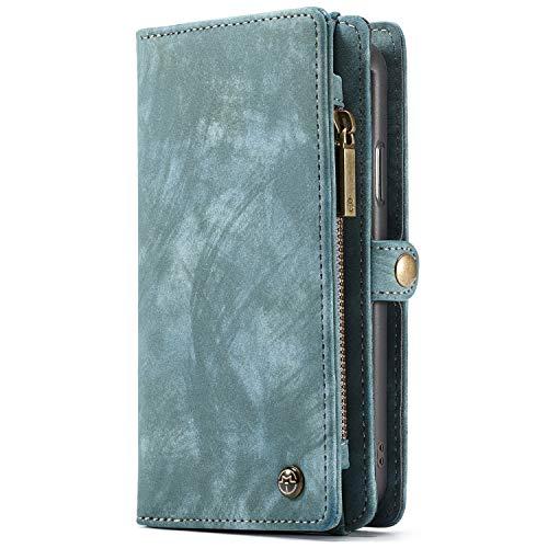 Apple iPhone X Case Hülle Geldbörse mit Kredit Kartenfächer [Geldscheinfach mit Reißverschluss] Premium mit abnehmbaren Magnet Handy Schutzhülle,