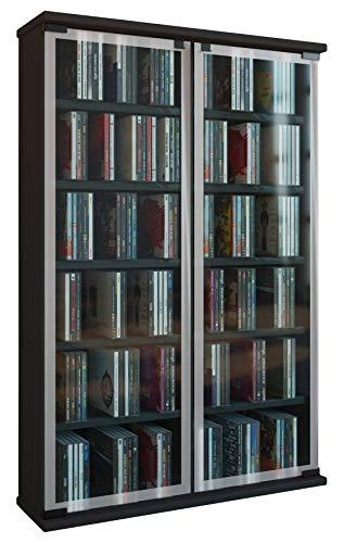 VCM Galerie Mueble CD/DVD para 300 Piezas, Madera, Negro, 91,5x60x18 cm