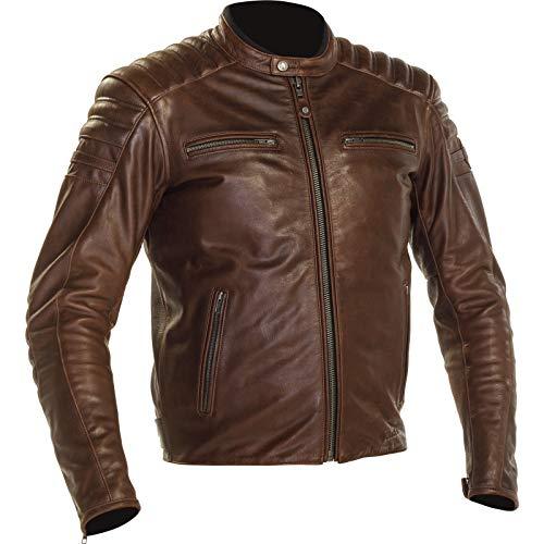 Richa Daytona 2 - Chaqueta de piel para moto, marrón, 46