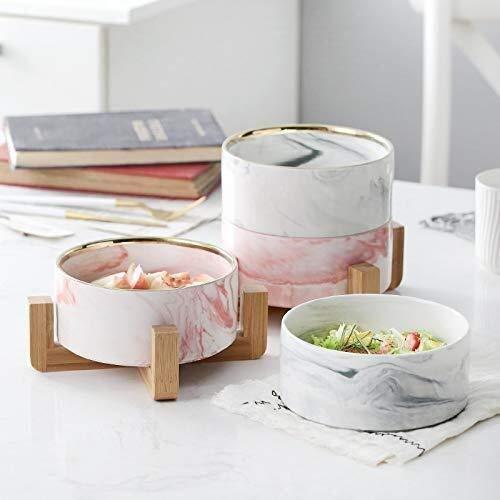 Cuenco de cerámica nórdico creativo con marco de bambú, ensalada de frutas, ensaladera, vajilla de cerámica occidental estilo occidental (color: rosa, tamaño: 1515,9 cm)