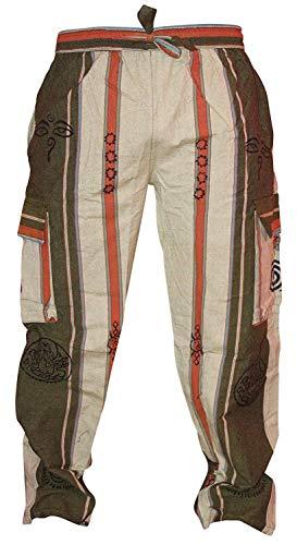 Pantalones hippie para festival con bolsillos cargo para hombre de Shopoholic Fashion Verde Ejercito Verde 3XL