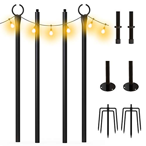 charaHOME String Light Poles for Outdoors (2 x 9ft) Weather Resistant,Stainless Steel,Tall,Christmas Decoration,Light Pole for House Garden Patio Wedding Party(No Light Bulb)