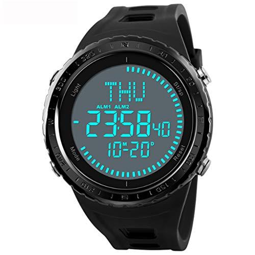 Gnaixyc Brújula Reloj Deportivos Digital Impermeable, Hombre El Retroiluminación Outdoor Militares Táctica Relojes De Pulsera, 50M Resistente Agua 12H/24H Tiempo 3 Alarma Fecha,Negro