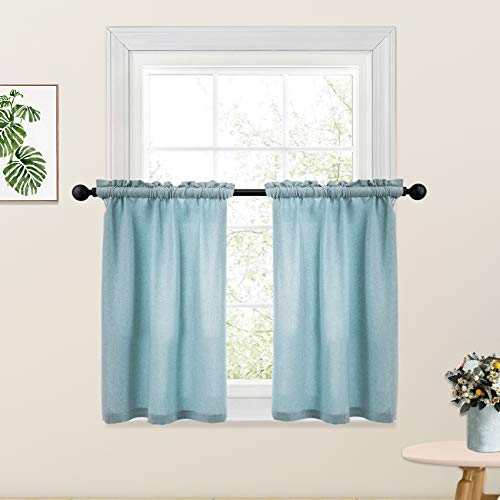 Sky Blue Kitchen Tier Curtains 36 inches Long Linen Textured Cafe Curtains Short Bathroom Small Basement Window Curtain 2 Panels Rod Pocket