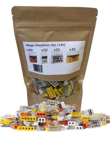 140 Stück Wago-Klemmen Sortiment Steckklemme Verbindungsklemme Compact 2273-202 203 205 208