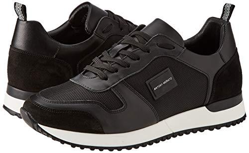 Antony Morato Sneaker Run Metal IN Nylon E Pelle, Oxford Plano Hombre, Negro, 40 EU