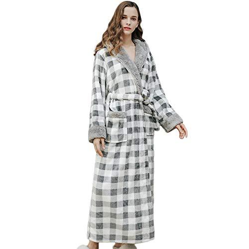 XHONG Flanell-Bademäntel mit Kapuze, für Herren und Damen, bequem, volle Länge, warmes Nachthemd, Grau, L/XL Gr. X-Large, grau