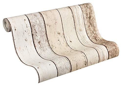 A.S. Création Vliestapete New England 2 Tapete in Holz Optik fotorealistische Holztapete maritime Optik 10,05 m x 0,53 m beige braun weiß Made in Germany 895110 8951-10
