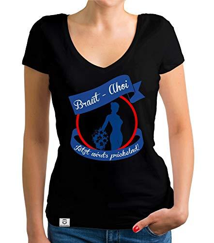 shirtdepartment - Damen JGA T-Shirt V-Ausschnitt - Braut AHOI schwarz-blau XL